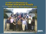 1st nsf int l workshop on human interactive proofs parc palo alto ca january 9 11 2002