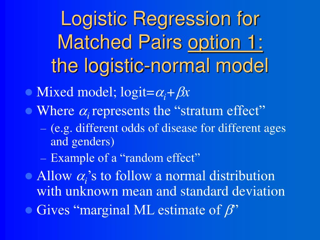Logistic Regression for Matched Pairs