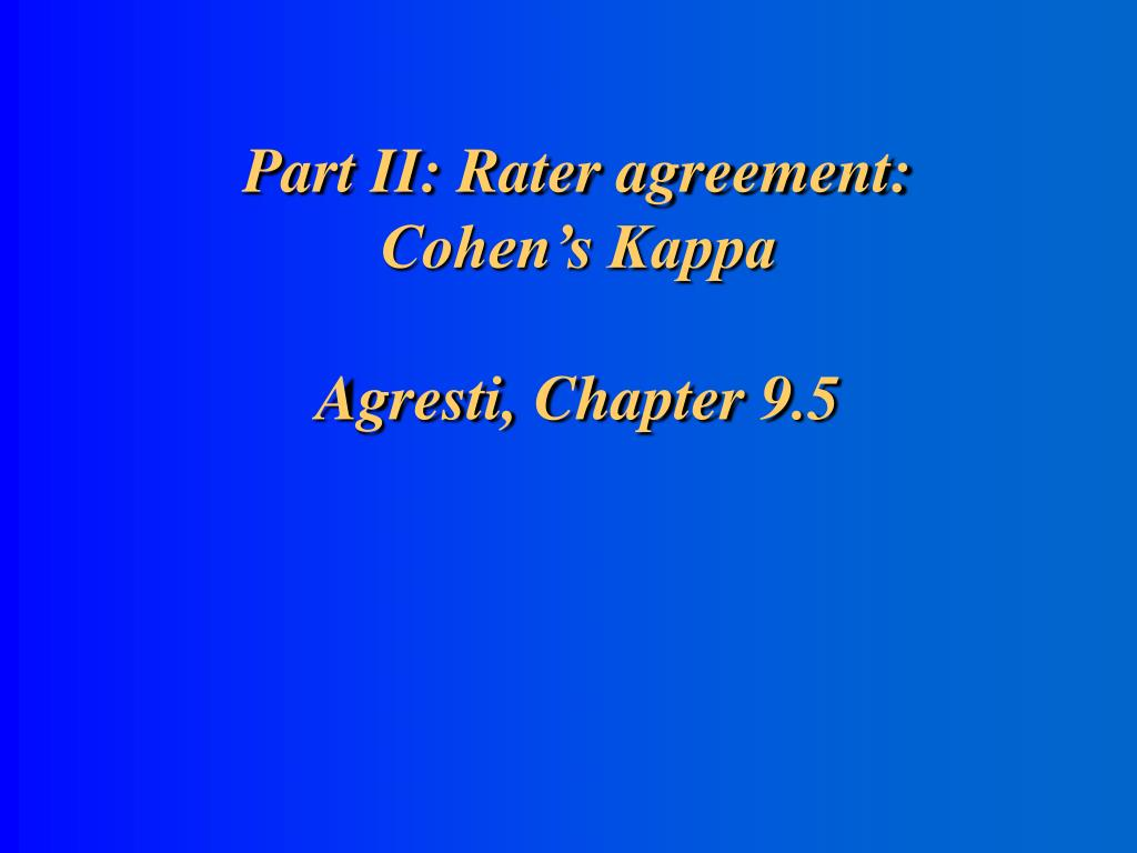 Part II: Rater agreement: