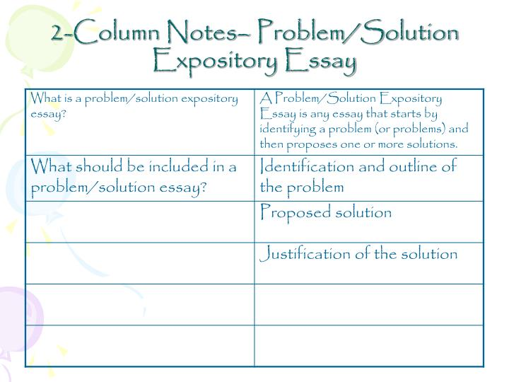 expository writing problem-solution essay Problem solution essay type of writing can be easy for you if you use these  useful tips, you will provide the essay that will impress your teacher.