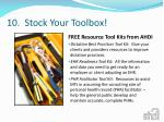 10 stock your toolbox