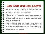 cost code and cost control