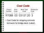 cost code