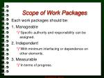 scope of work packages