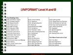 uniformat level a and b