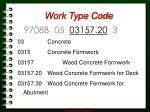 work type code