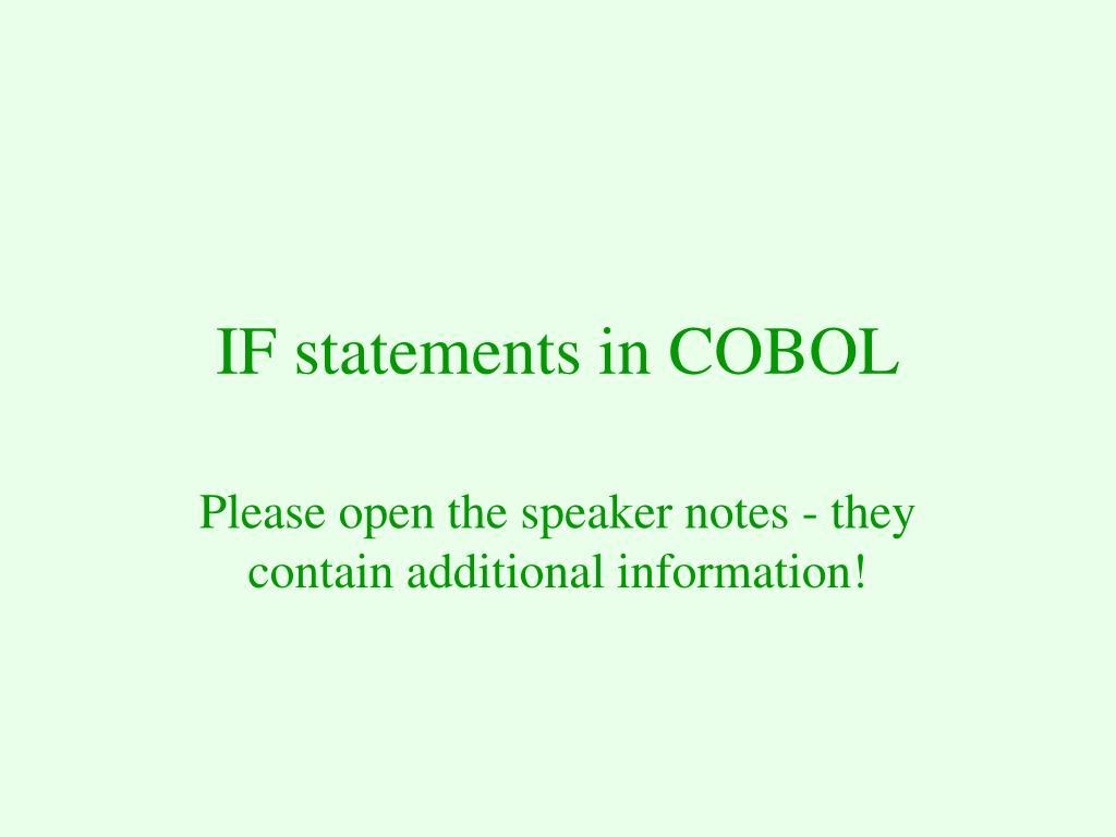 if statements in cobol l.