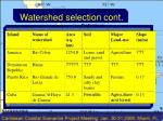 watershed selection cont