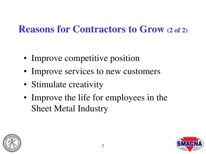 Reasons for contractors to grow 2 of 2