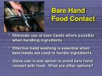 bare hand food contact