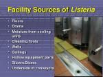 facility sources of listeria