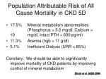 population attributable risk of all cause mortality in ckd 5d