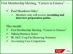 first membership meeting careers in finance