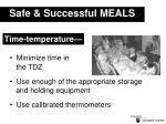 safe successful meals