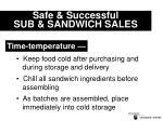 safe successful sub sandwich sales