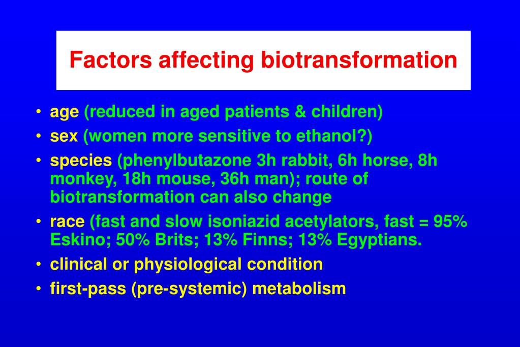 Factors affecting biotransformation