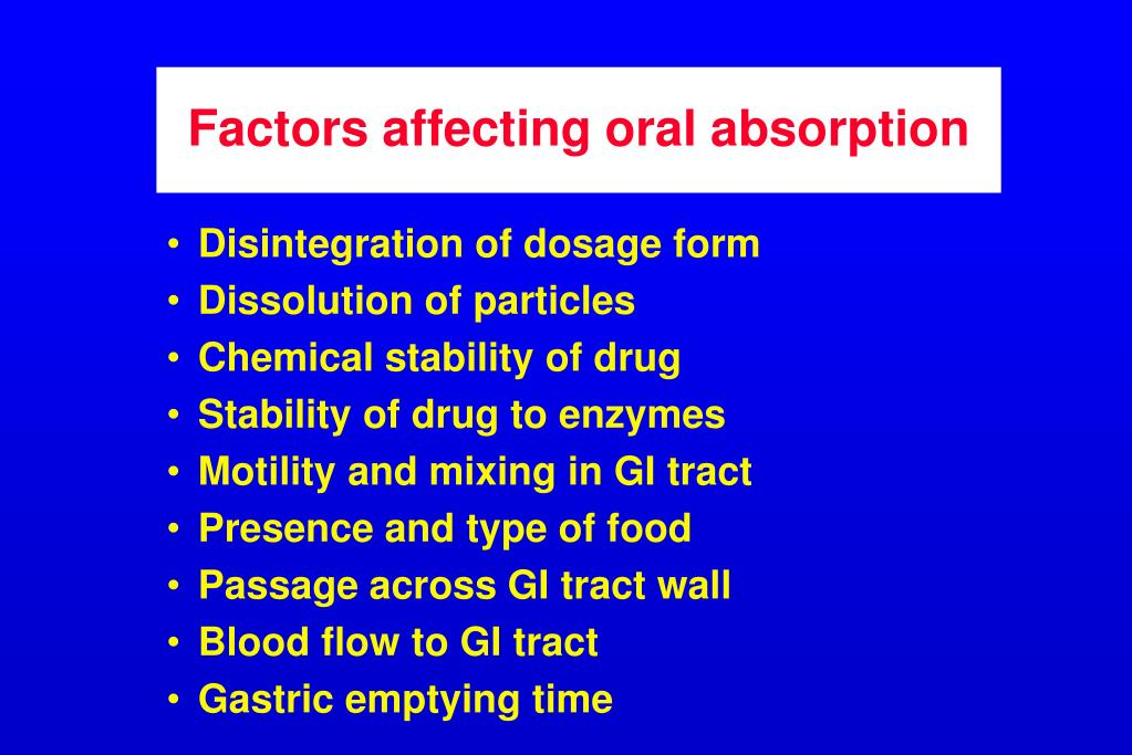 Factors affecting oral absorption