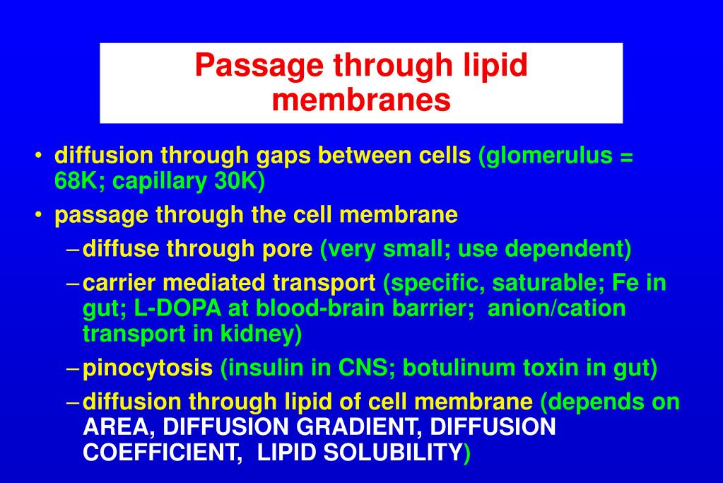 Passage through lipid membranes