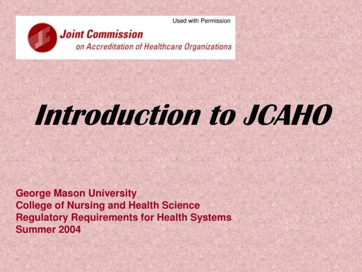 introduction to jcaho n.