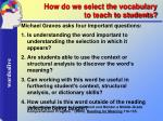 how do we select the vocabulary to teach to students
