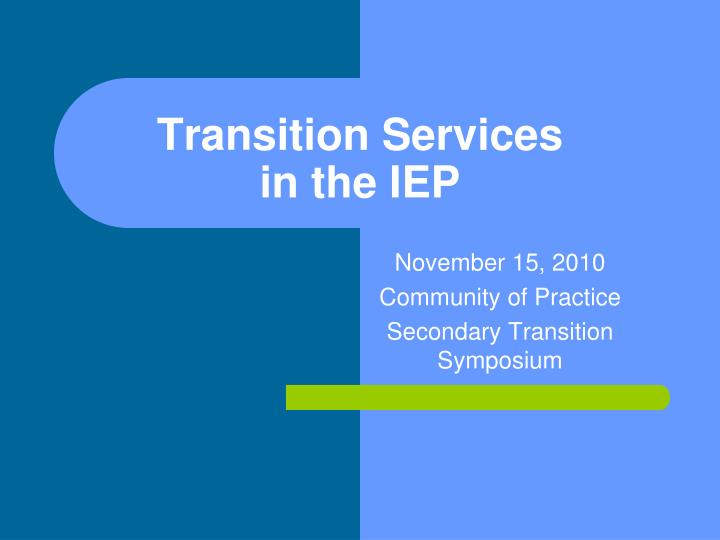 transition services in the iep n.