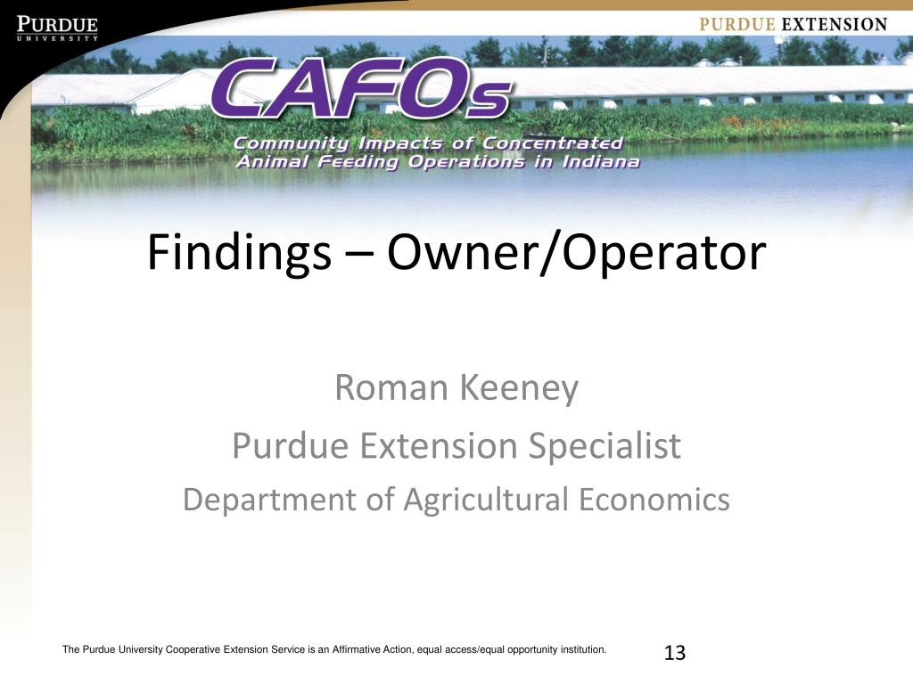 Findings – Owner/Operator