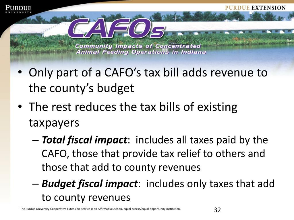 Only part of a CAFO's tax bill adds revenue to the county's budget