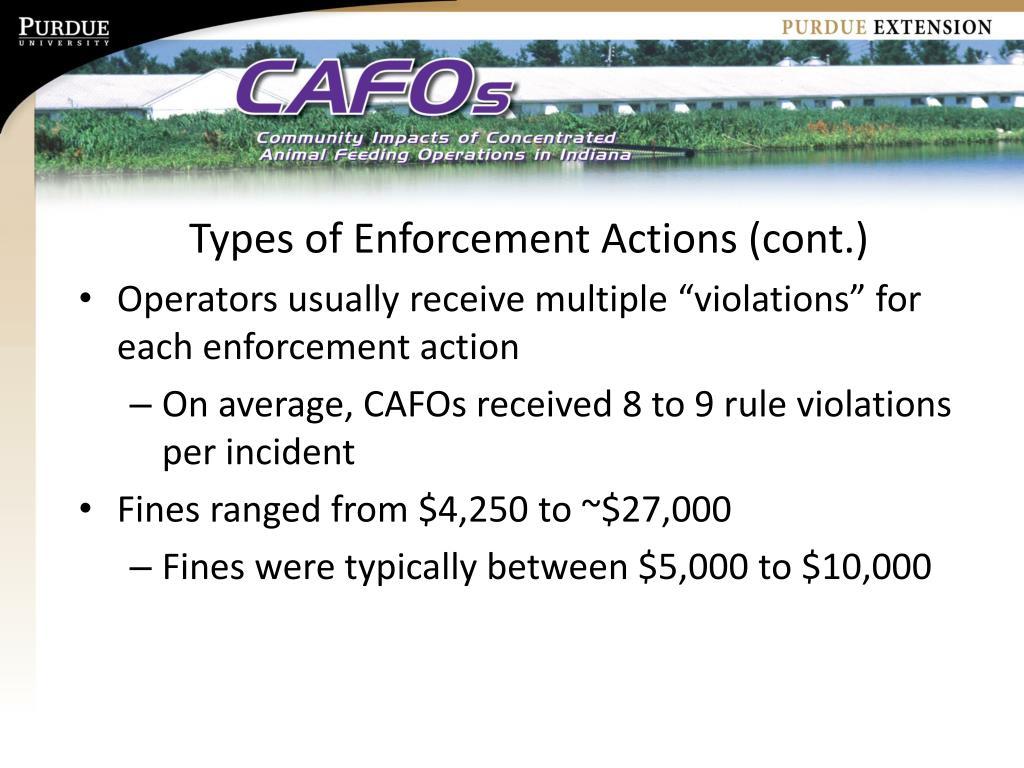 Types of Enforcement Actions (cont.)