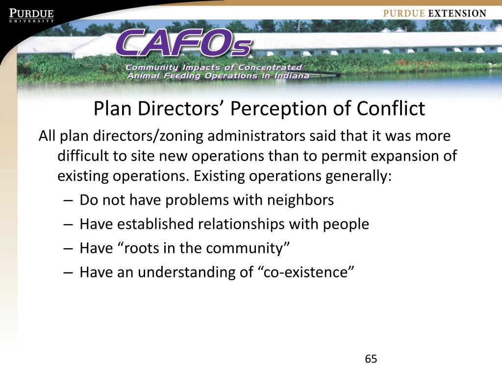 Plan Directors' Perception of Conflict