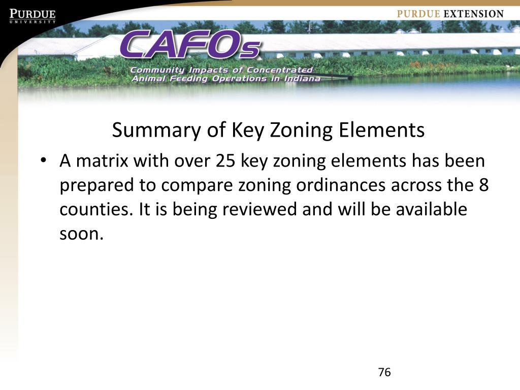 Summary of Key Zoning Elements