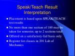 speak teach result interpretation