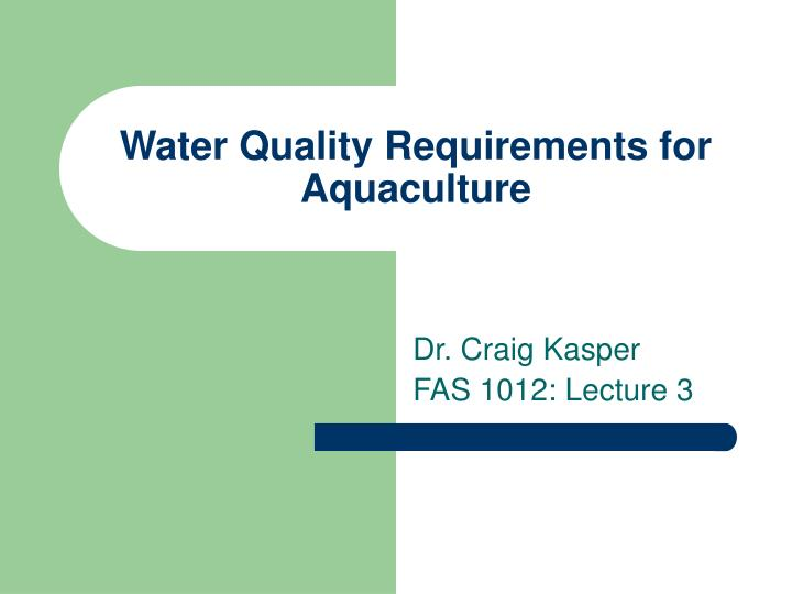 water quality requirements for aquaculture n.