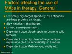 factors affecting the use of mabs in therapy general