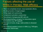 factors affecting the use of mabs in therapy mab efficacy