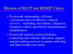 mission of blcp and resep clinics