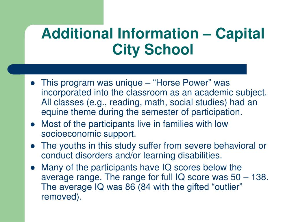 Additional Information – Capital City School