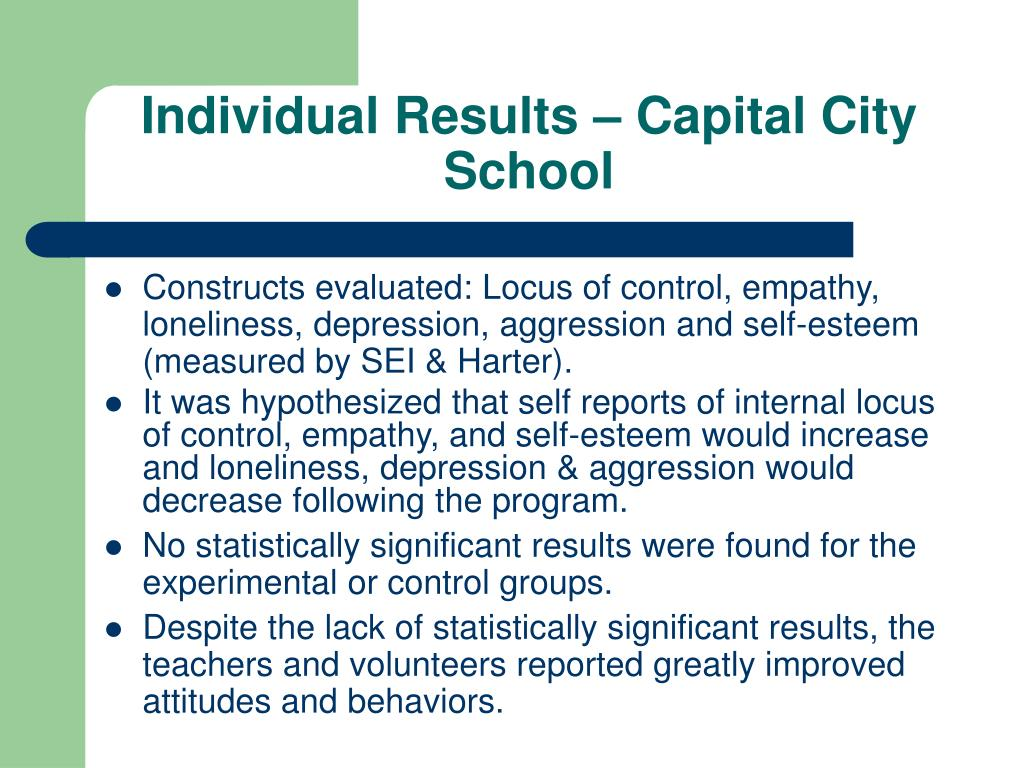 Individual Results – Capital City School