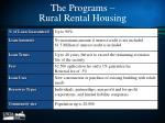 the programs rural rental housing