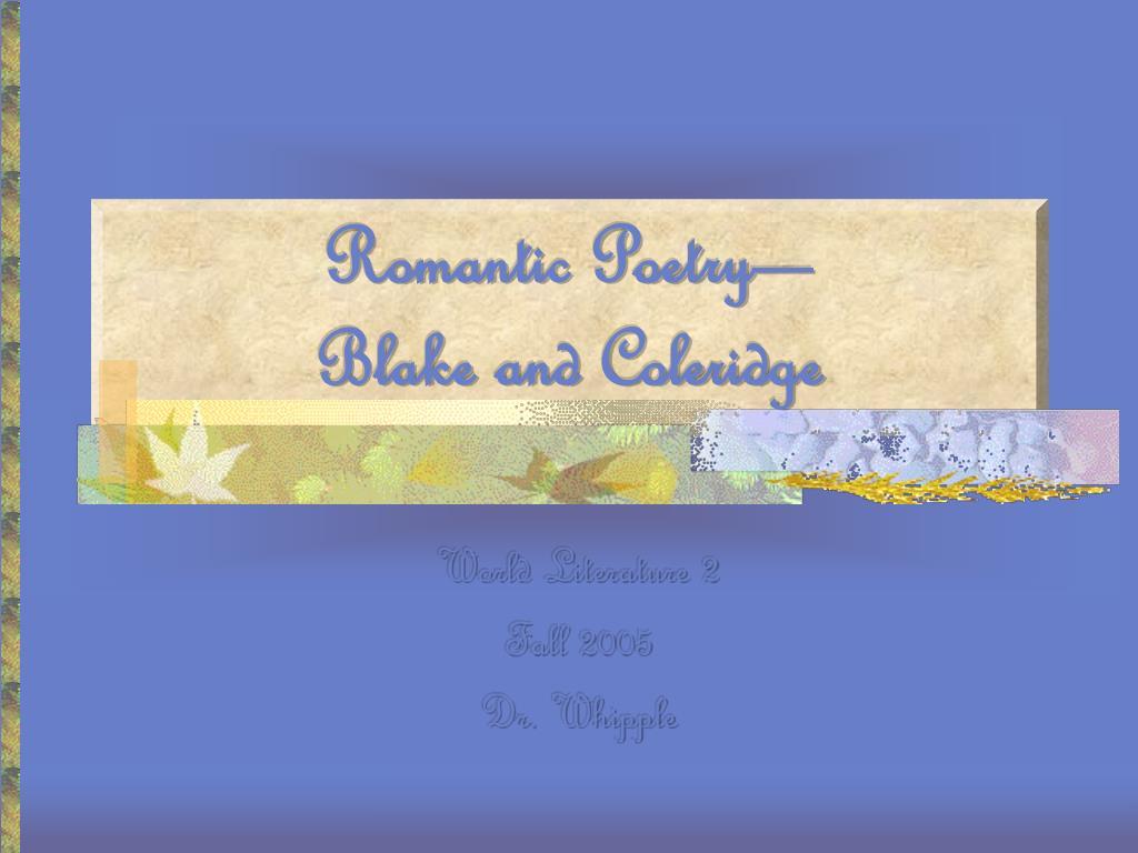 romantic poetry blake and coleridge l.