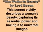 she walks in beauty by lord byron