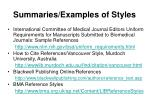 summaries examples of styles