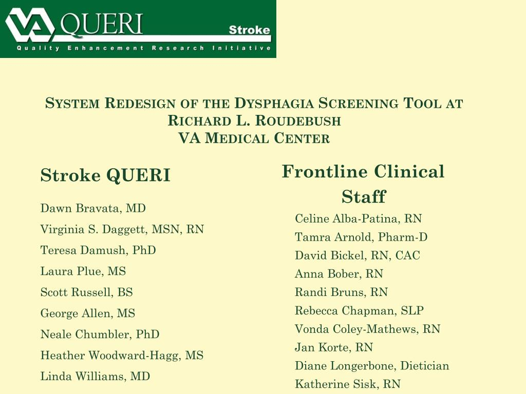 system redesign of the dysphagia screening tool at richard l roudebush va medical center l.