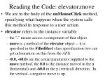 reading the code elevator move