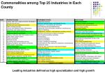 commonalities among top 25 industries in each county