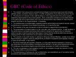 gbc code of ethics