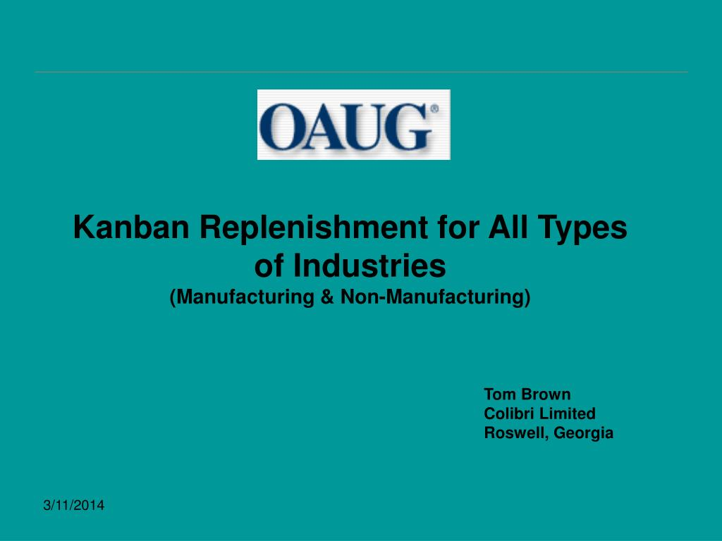 kanban replenishment for all types of industries manufacturing non manufacturing l.