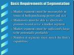 basic requirements of segmentation