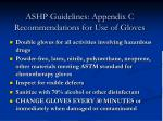 ashp guidelines appendix c recommendations for use of gloves