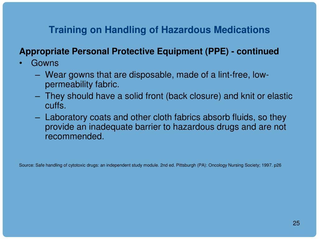 Training on Handling of Hazardous Medications