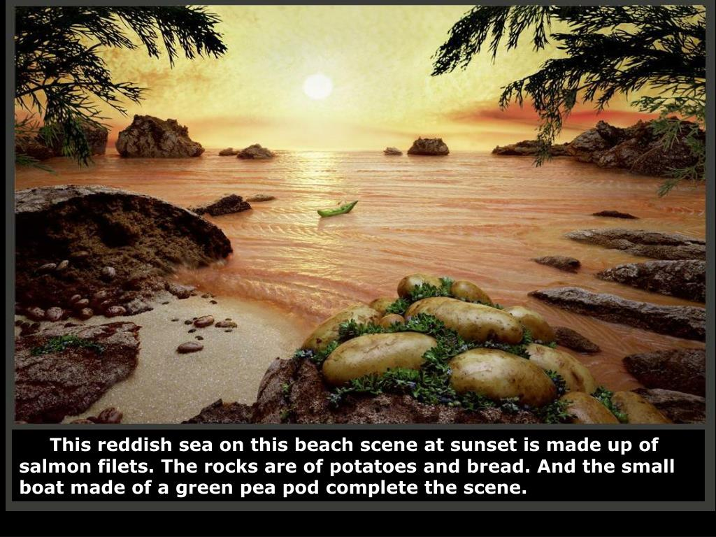 This reddish sea on this beach scene at sunset is made up of salmon filets. The rocks are of potatoes and bread. And the small boat made of a green pea pod complete the scene.